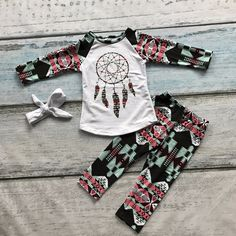 13.99$  Buy now - http://ali7sp.shopchina.info/go.php?t=32771137144 - 2016 girls dream catcher clothing babay girls Fall outfits baby girls boutiques clothing baby girls Azect pant set with headband  #buyonlinewebsite