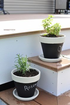 planting herbs in terra cotta pots painted in #chalkboard paint