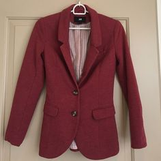 H&M Fitted Blazer Stylish red fitted blazer with elbow patches. Fully lined - 60% cotton, 40% polyester. Tag says size 4 or EUR 34 but definitely fits smaller, more like a 2. Comes with spare button (4th photo). H&M Jackets & Coats Blazers
