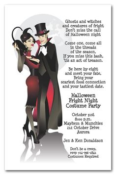 """A sinister couple dressed in their vampire best waltz under a fun moon. With a black cat too, these are frightfully funHalloween party Invitations your guests will love. Actual Size: 5.5"""" x 8.5"""""""