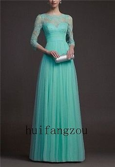 New Elegant Green Lace Tulle 3 4 Sleeve Long Evening Pageant Dress Gown Custom | eBay link: http://www.ebay.com/itm/New-Elegant-Green-Lace-Tulle-3-4-Sleeve-Long-Evening-Pageant-Dress-Gown-Custom-/390685694384?pt=Bridesmaid_Dress&hash=item5af6ae99b0