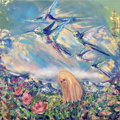 In the alps, hummingbirds by Nino Ponditerra Paintings For Sale, Original Paintings, Canvas Paintings, Canvas Prints, Art Prints, Vango Art, Hummingbird Painting, Palette Art, Unique Art