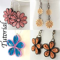 Tutorial for Paper Quilled Jewelry PDF Flower Earrings and Pendant Designs. via Etsy.