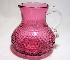 Vintage reproduction syrup pitcher of an 18th to 19th century Anglo Irish or Early American design Mold blown cranberry glass, with an applied handle in clear Suggested thi... #gotvintage #fenton
