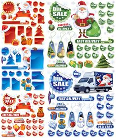 Christmas shopping sale labels vector