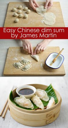 Flour and water is all you need to make dumpling wrappers for easy homemade Chinese dim sum. The fillings can be just as easy! James Martin's dim sum of steamed prawn parcels are served with two types of spicy dip – a great starter for sharing. Dumpling Wrappers, Wonton Wrappers, Chicken Spring Rolls, Chinese Dumplings, Steamed Dumplings, Oriental Food, Dumpling Recipe, Asian Cooking, Quesadillas