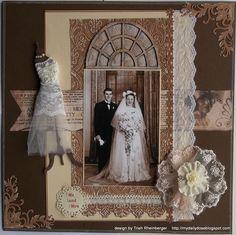 elegant heritage wedding page. Heritage Scrapbook Pages, Wedding Scrapbook Pages, Vintage Scrapbook, Scrapbook Journal, Scrapbook Paper Crafts, Mini Books, Vintage Colors, Scrapbooking Layouts, Scrapbooks
