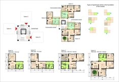 This is a diagram of T-Trees Social Housing by Light Space Architects. This diagram shows the plans of the different types of apartments. The diagram is color coded using a green color for the main entry point of each apartment, so we can see how each apartment compares to the others. The diagram is successful because it is clear and easy to read.