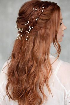 33 Wedding Updos With Braids ❤ wedding updos with braids half up half down on red hair with baby breath hairandmakeupbysteph Wedding Hairstyles To The Side Curls Bridesmaids Half Up Half Down New Ideas Half up Half Down Wedding Hair Idea You'll Want to Do Braided Hairstyles Updo, Braided Updo, Bride Hairstyles, Down Hairstyles, Hairstyle Ideas, Bangs Hairstyle, Updos, Short Hairstyle, Latest Hairstyles