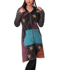 Take a look at the Rising International Black & Purple Snowflake Jacket on #zulily today!