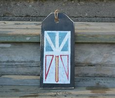 Items similar to Newfoundland flag. Newfoundland Flag, Newfoundland And Labrador, Diy Ideas, Food Ideas, Front Door Signs, Wood Tags, Old Doors, Wood Slices, Key Chains