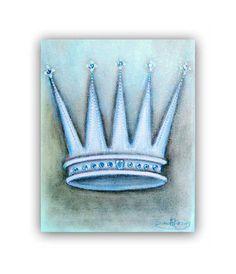 Baby Boy Nursery, Prince Crown Art Print, Blue Grey, Children's Wall Art, Prince Nursery, Royal Crown, Children Kids Decor, Nursery Wall Art...
