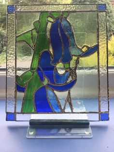 Bluebell Thought of Spring. In the UK we get carpets of bluebells in the woods.  This is made of stained glass by Brian Dickinson of #dolittleglass.