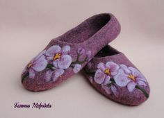 Orchid felted slippers