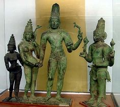 Meenakshi Kalyanam - Marriage of Shiva and Parvati, Chola bronze,11th century, Rajaraja Museum, Thanjavur  Shiva and Parvati join hands, accompanied by Vishnu (right) and Lakshmi (left). Although Vishnu is not on the same platform as the other figures, the group belongs together (Huntington, pp.533-534). The rearing antelope in Shiva's left upper hand is a typical attribute in the South.