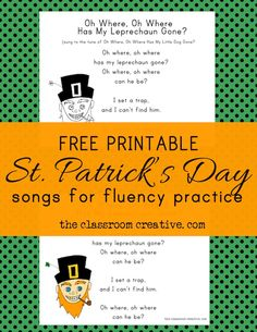 FREE PRINTABLE! St. Patrick's Day leprechaun songs! Songs and poems are perfect for practicing reading fluency! This would be awesome for a St. Patty's day literacy center, and best of all, it's FREE! from theclassroomcreative.com