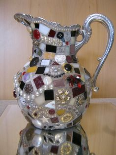 Sterling Silver Plate Mosaic Teapot Pitcher by furgirl on Etsy