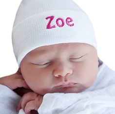 e7326da0fdd Melondipity s Pure White Personalized Newborn GIRL hospital hat