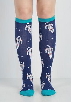 Leap for Glam-kind Socks. Suit up in these midnight blue socks and achieve sky and mighty style! #blue #modcloth