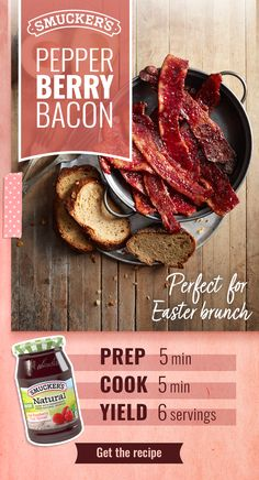 Add a sweet twist to your bacon with this Smucker's® Pepper Berry Bacon recipe. Be sure to use Smucker's Red Raspberry Natural Fruit Spread — the one with real raspberries as the ingredient! Smucker's Pepper Berry Bacon is perfect for Easter brunch. Soup Appetizers, Appetizer Recipes, Bacon Recipes, Cooking Recipes, My Burger, Good Food, Yummy Food, Dips, Lard
