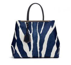Collezione borse Fendi Autunno Inverno 2013-14 - Handbag Fendi zebrata blu e bianca