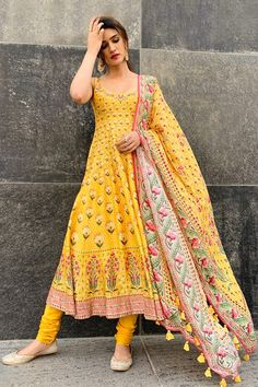 Buy Antara Set by Anita Dongre at Aza Fashions - Indian designer outfits - Anarkali Dress, Pakistani Dresses, Indian Dresses, Pakistani Kurta, Anarkali Churidar, Cotton Anarkali, Lehenga Choli, Sarees, Anita Dongre