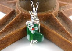 Holiday Christmas Lampwork Necklace, Red Green Christmas Stocking Wire Wrapped with Sterling Silver by SimpleGem