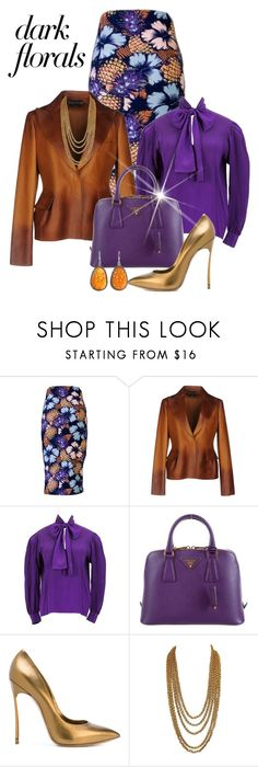 """""""Winter Prints: Dark Florals"""" by shamrockclover ❤ liked on Polyvore featuring Tom Ford, Yves Saint Laurent, Prada, Casadei and NOVICA"""