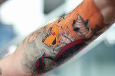 """James and the Giant Peach"" (Roald Dahl) Cool Tattoos, Tatoos, Peach Tattoo, Tattoo Filler, Light Tattoo, The Giant Peach, Interesting Tattoos, Kids Lighting, Roald Dahl"