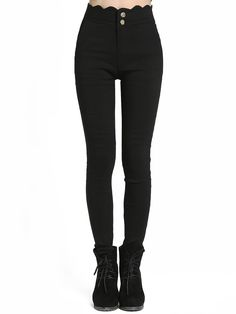 Skinny+Hose+mit+geschupptem+Saum+-+schwarz+14.70