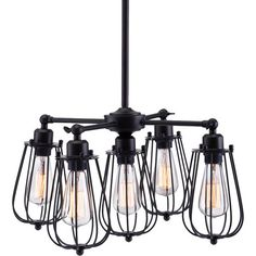 Bring industrial appeal to your foyer or dining room with this metal pendant, showcasing Edison-inspired bulbs and a distressed black finish.