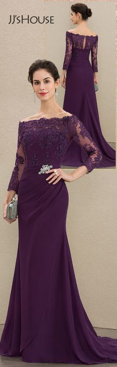 Trumpet/Mermaid Off-the-Shoulder Sweep Train Chiffon Lace Mother of the Bride Dress With Beading Sequins #JJsHouse #MotherDresses
