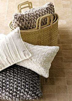 chunky knit pillow, soft-as-a-lamb pillow, & pieced-felt pillow