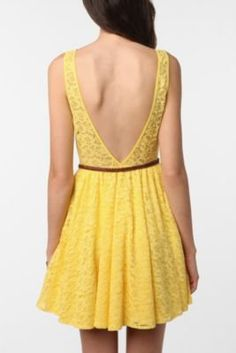 UrbanOutfitters.com > Pins & Needles Backless Lace Dress #Yellow bridesmaid dress for my best friends wedding :)