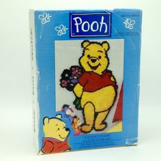 "Disney Winnie the Pooh Cutout Pooh Shaped Latch Hook Kit 20"" x 35"" Wall Hanging Rug Bouquet of Flowers"