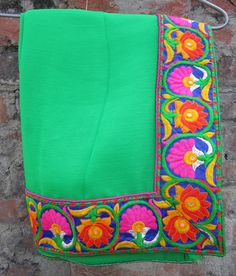 Stitched embrodry blouse + Cifon/Smart Georgette Saree with embroidery border, All Sizes - Sari Blouse - Saree Top - Sari Top - For Women by JahanviFashionShop on Etsy