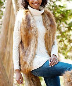 Look what I found on #zulily! Brown Faux Northern Fox Fur Vest - Women & Plus #zulilyfinds