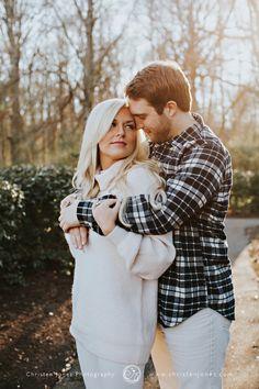 Outdoor Winter Engagement Photo Session || White Sweater || Plaid Shirt || Garden || Memphis Engagement Photographer || Christen Jones Photography