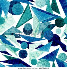 Watercolor Blue Circles and Triangles Seamless Pattern