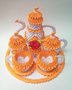 3d Origami Tea Set Paper Tea Set 3d Tea Set by ArtsyHandsCreations