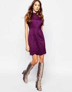 Image 4 ofNeon Rose Button Back Skater Dress with Scallop Hem