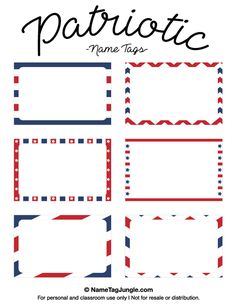 Free printable patriotic name tags. The template can also be used for creating items like labels and place cards. Download the PDF at http://nametagjungle.com/name-tag/patriotic/