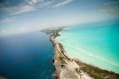 Aerial view of The Caribbean Sean & Atlantic ocean, Eleuthera coastline.  Go Bahamas! Photograph by www.lyndahwells.com