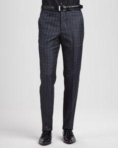Alexander McQueen Houndstooth Jacquard Suit Pants, Charcoal - Neiman Marcus Men Trousers, Suit Pants, Dress Pants, Neiman Marcus Dresses, Welt Pocket, Houndstooth, Alexander Mcqueen, Burberry, Charcoal