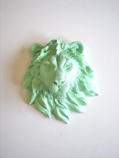 Faux Taxidermy Small Lion Head Wall Decor, Leonard the Lion in mint