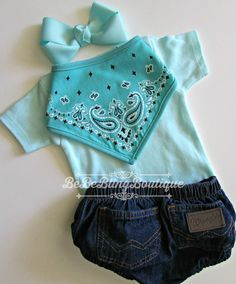 Newborn baby COWGIRL western country take me home outfit  WRANGLER denim bloomers outfit mint bodysuit BANDANA bib headband bow