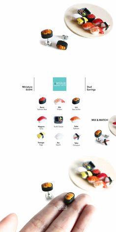 Sea urchin sushi nigiri roll stud earrings | sushi oursin | bijoux gourmands japonais | miniature japanese food jewelry handmade in polymer clay by LA NOSTALGIE #sushijewelry #bijouxsushi #foodearrings