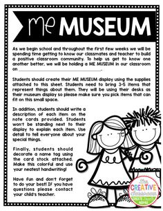 Me Museum - Build a Positive Classroom Community - The Creative Classroom First Week Of School Ideas, First Day Of School Activities, Beginning Of The School Year, New School Year, School Days, School Stuff, 4th Grade Classroom, Classroom Activities, Classroom Ideas