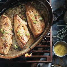 Fresh Walleye With Mustard-dill Sauce With Dijon Mustard, Maple Syrup, Red Wine Vinegar, Olive Oil, Fresh Dill, Dried Oregano, Crushed Red Pepper Flakes, Garlic Powder, Salt, Walleye, Unsalted Butter, Green Onions, Lemon