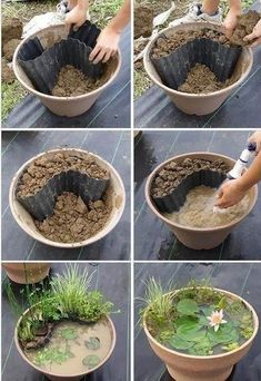 A garden pond to make yourself, simply . Einen Gartenteich zum Selbermachen, einfach mit Seerose im Blume… DIY garden idea. A garden pond to make yourself, simply with a water lily in a flowerpot.
